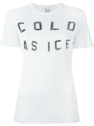Zoe Karssen Cold As Ice Print Fitted T Shirt White