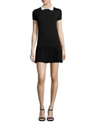 Red Valentino Collared Knit Drop Waist Dress Black Cream