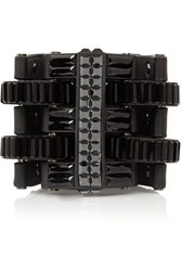 Lanvin Leather Blackened Pewter And Crystal Cuff