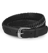 Paige Sienna Leather And Chain Belt Black