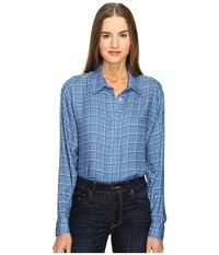 Love Moschino Oversized Plaid Shirt Blue Women's Long Sleeve Button Up