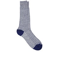 Barneys New York Melange Ribbed Mid Calf Socks Blue