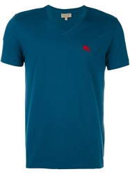 Burberry V Neck T Shirt Blue