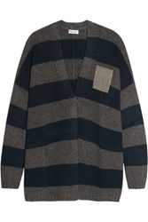 Brunello Cucinelli Embellished Striped Cashmere Cardigan Gray