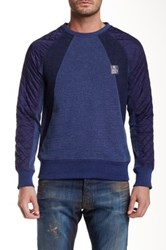 Prps Corvus Quilted Panel Pullover Sweater Blue