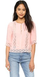 Twelfth St. By Cynthia Vincent Lace Inset Blouse Peach