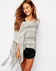 Abercrombie And Fitch Fringed Cropped Jumper Charcoalwithsilver