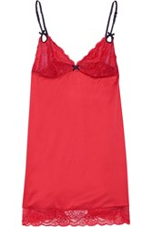 Heidi Klum Intimates Zoe Lace Trimmed Satin Chemise Red