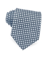 Forzieri Blue And White Micro Geometric Patterned Woven Silk Tie Dark Blue