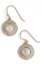 Melinda Maria 'Jade' Pave Drop Earrings Moonstone Gold