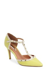 Women's Halogen 'Martine' Studded T Strap Pump Citrus Leather