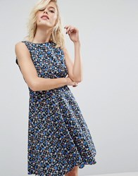 Trollied Dolly Retro Birdcage Print Skater Dress Navy Birdcage