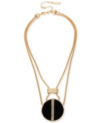 Kenneth Cole New York Gold Tone Faux Leather And Pave Disc Pendant Necklace Black