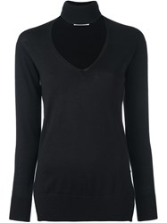 Zanone V Neck High Neck Pullover Black