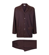 Zimmerli Polka Dot Jacquard Pyjama Set Male Brown