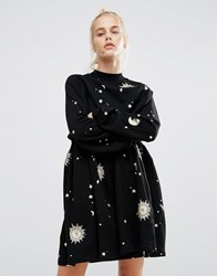 Lazy Oaf Smock Dress With Metallic Moon And Star Print Black