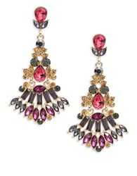 Design Lab Lord And Taylor Short Chandelier Cluster Earrings Red
