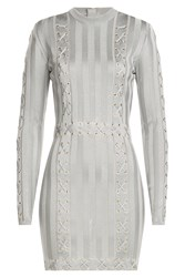Balmain Mini Dress With Lace Up Detail Grey
