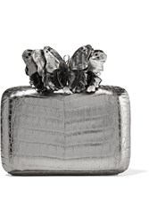 Nancy Gonzalez Appliqued Python Trimmed Crocodile Clutch Gunmetal