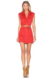 L'academie The Sleeveless Shirt Dress Red