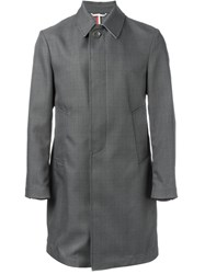 Thom Browne Prince Of Wales Check Raincoat Grey
