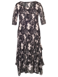 Chesca Floral Print Crush Pleat Layered Dress Black Heather