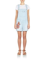 Stella Mccartney Embroidered Short Dungaree Denim Overalls Sun Faded Blue