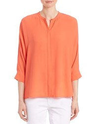 Eileen Fisher Silk Button Front Blouse Guava