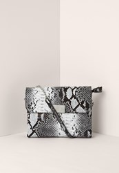 Missguided Black And White Faux Leather Snake Cross Body Bag Multi