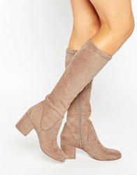 Asos Cameron Knee High Boots Taupe Beige