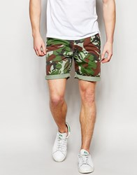 Asos Chino Shorts In Camo Print Green
