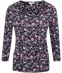 Cc Ditsy Floral Cowl Jersey Top Cranberry