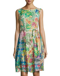 Johnny Was Mix Print Sleeveless Fit And Flare Dress Multicolor