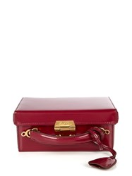 Mark Cross Grace Small Leather Box Bag Burgundy