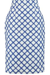 Jonathan Saunders Axel Textured Cotton Skirt Blue