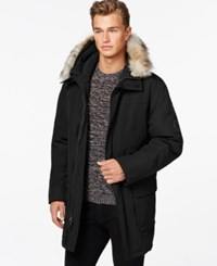 Calvin Klein Faux Fur Hooded Jacket Black