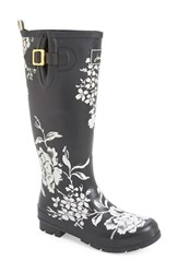 Women's Joules 'Welly' Print Rain Boot Black Floral