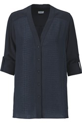 Vince Paneled Croc Effect Silk Jacquard And Chiffon Blouse Midnight Blue