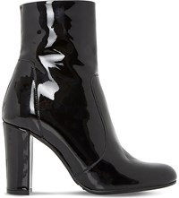 Dune Otto Round Toe Heeled Ankle Boot Black Patent