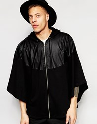 Asos Oversized Zip Up Hooded Cape With Faux Leather Panel Black