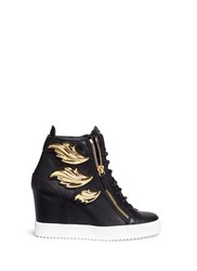 Giuseppe Zanotti 'Lamay Lorenz' Leaf Applique Concealed Wedge Leather Sneakers Black Metallic