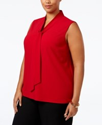 Kasper Plus Size Tie Neck Blouse Fire Red