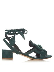 Olgana Paris Dahlia Floral Detail Suede Block Heel Sandals Green