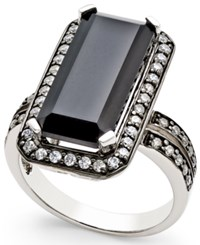 Macy's Onyx 8X18mm And Swarovski Zirconia Statement Ring In Sterling Silver Black