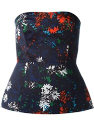 Cedric Charlier Floral Print Strapless Bustier Blue