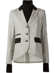 Veronica Beard Herringbone Blazer Jacket Grey