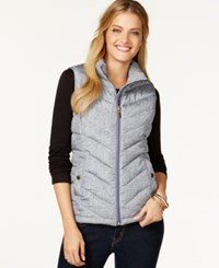 Charter Club Quilted Vest Texture Print Shadow Grey
