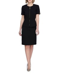 Tahari By Arthur S. Levine Plus Short Sleeve Front Zip Jacket And Skirt Suit Black