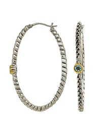 Lord And Taylor Sterling Silver And 14 Kt. Gold Blue Topaz Hoop Earrings Sterling Silver And 14K Yellow Gold