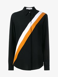 Stella Mccartney Odette Stripe Print Silk Shirt Black Multi Coloured White Orange